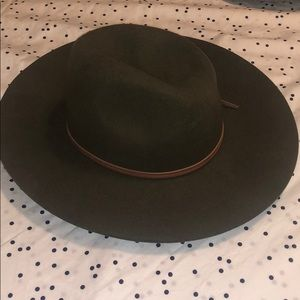 Green Wool Wide Brim Hat